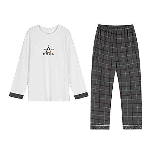Herren Zwei Teile Rundhals Pyjama Hemd T-Shirt Zuhause Hose Lange Ärmel Baumwolle...