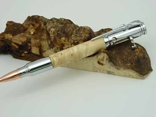 Handgedrechselter Kugelschreiber aus Ahorn Maser Holz, Jagd