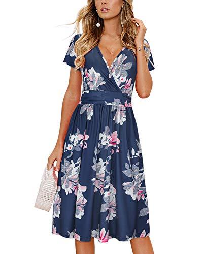 OUGES Damen Sommerkleid Kurzarm V-Ausschnitt Knielang Blumenmuster Partykleid mit Taschen