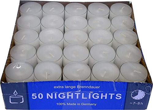 Teelicht Nightlights 50er Box transparente Hülle Brenndauer ca. 8 Std.
