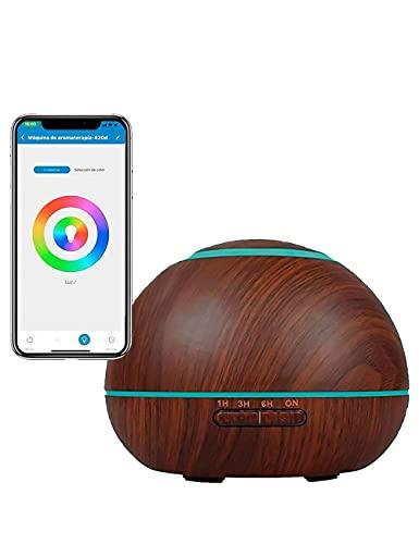 Humidificador de aceites esenciales Difusor de aromas ultrasónico 300mL Compatible con Alexa y Google Home Regulable Si Smart, Multicolor, ambientador, aromaterapia, horarios (Bola-Marrón oscuro)