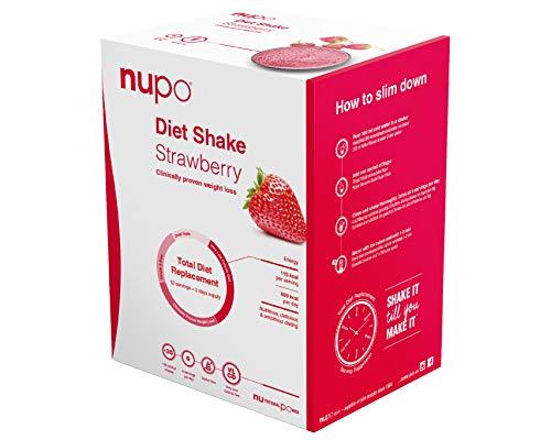 NUPO Diet Shake Erdbeere – Premium Diät-Shake zum Abnehmen I Klinisch geprüfter Mahlzeitersatz für effiziente Gewichtsabnahme I 12 Portionen I Very low calorie diet, glutenfrei, GMO frei
