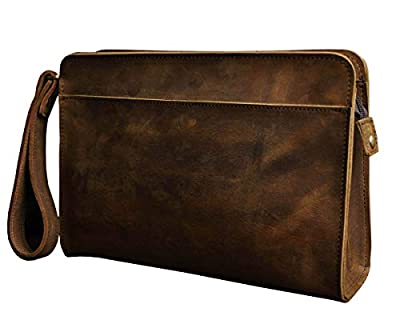 Le'aokuu Men Leather Business Briefcase Clutch Hand Under Arm Bag Male Organizer Wallet Tablets Case (2753 Brown)