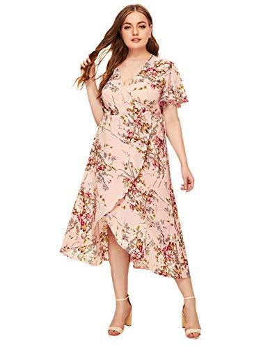 Milumia Women Plus Size Wrap V Neck Floral Boho Summer Maxi Party Dress Pink 1X