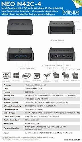 MINIX NEO N42C-4, Intel Pentium Mini PC mit Windows 10 Pro (64-bit) [4GB/32GB/Erweiterbar/Dual-Band Wi-Fi/Gigabit Ethernet/4K @ 60Hz/drei Monitore/USB-C]. Verkauft direkt von MINIX Technology Limited.