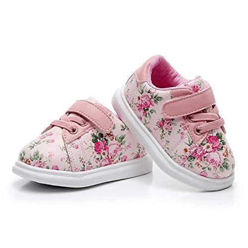 WXX Zapatos Lindos del bebé niño Suave Mocasines de Flor Rosa Zapatillas de Deporte Zapatos, tamaño del Zapato: 22 (Rosa) (Color : Pink)