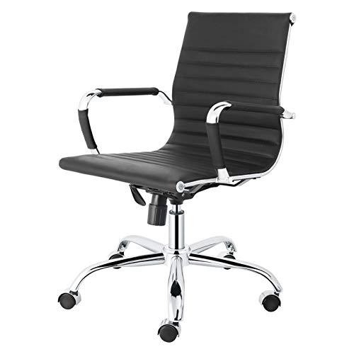 Renxiaoliangqhdz sedia da ufficio ergonomica in pelle a coste in pelle girevole in pelle regolabile altezza antocalma a forma di bracciolo manicotto aderente supporto alto posteriore interno interno e