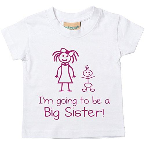 I'm Vais être Big Sister blanc T-shirt Bébé tout-petit enfants disponible en tailles 0-6 mois pour 14-15 ans nouveau bébé Sœur cadeau - Blanc, 12-18 Months