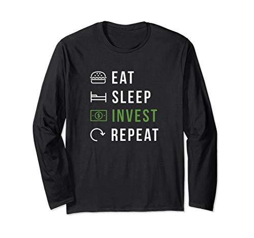 Eat Sleep Invest Repeat Aktien und Kryptowährung Trader Langarmshirt