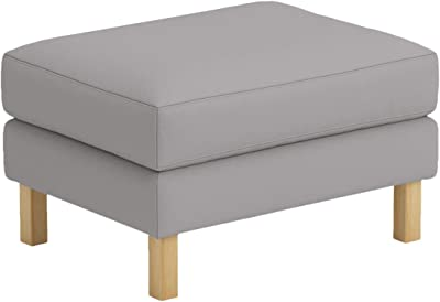 Polyester Karlstad Footstool Cover Replacement is Custom Made for IKEA Karlstad Ottoman, A Sofa Ottoman Slipcover Replacement (Light Gray Polyester)