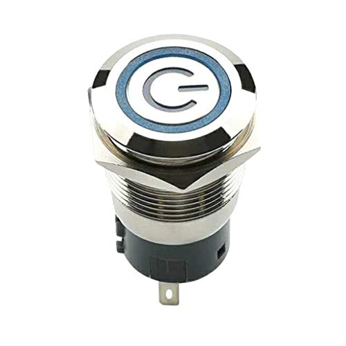 Shiwaki 12V Blue Led 19mm Self Reset Interruptor de Botón Reseteable para Auto Auto