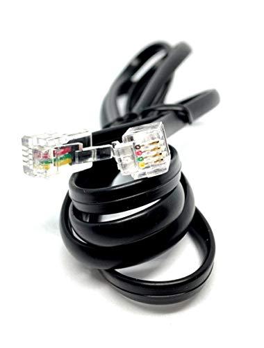 MainCore langer RJ10-Stecker auf RJ10-Stecker (4P4C), flaches Kabel des Telefonhörer-Empfängers (erhältlich in 1 m, 2 m, 3 m, 5 m, 10 m) 1m Schwarz