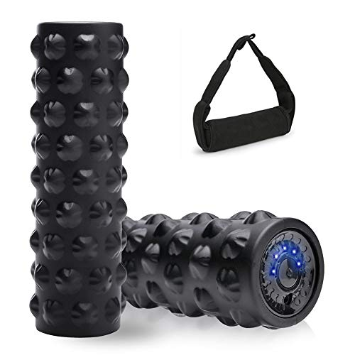 Vibrating Foam Roller,4 Speeds Rechargeable High Intensity Density Electric Trigger Point Vibration Foam Rolling Training for Fitness Muscle Recovery,Deep Tissue Vibrant Massage for Exercise,with Bag