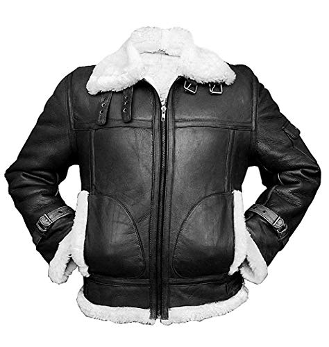 Mens B3 RAF Aviator Pilot Sheepskin Bomber Flying Fur Shearling Black Leather Jacket