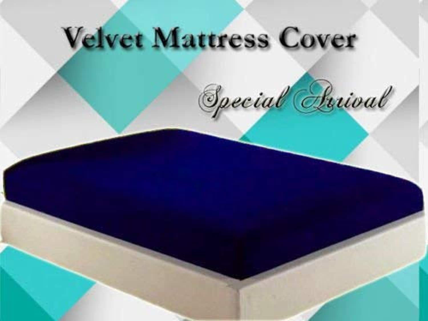 Luxurious Velvet Mattress Cover Predector 1 pc with zipper closure Gift Home Decor, Royal bluee, Queen, 14  Height mattress