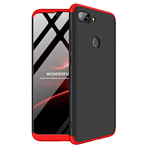 SOCINY Funda para Xiaomi Mi 8 Lite, Cubierta Antirrayas para PC, Ultra Delgada, a Prueba de Golpes, Mate Todo Incluido (Negro+Rojo)