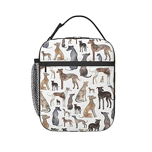 Bolsa de almuerzo aislada para mujeres/hombres galgos toallitas y perros Lurcher reutilizable bolsa de almuerzo para oficina, trabajo, escuela, picnic, viajes