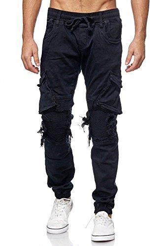 One Public MEGASTYL Männer Herren Cargo Taschen Jeans-Hose Olivgrün, schwarz, braun, grau Elastischer Bund, Farbe:Schwarz, Größe:33W / 34L