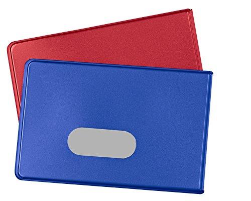 RFID NFC Schutzhülle (2 Stück) für Kreditkarten von BE-HOLD sind die idealen Blocker Schutzhüllen für ihre Geldbörse und schützt so ihre EC Karten, Personalausweis vor unerlaubten auslesen (rot/blau)