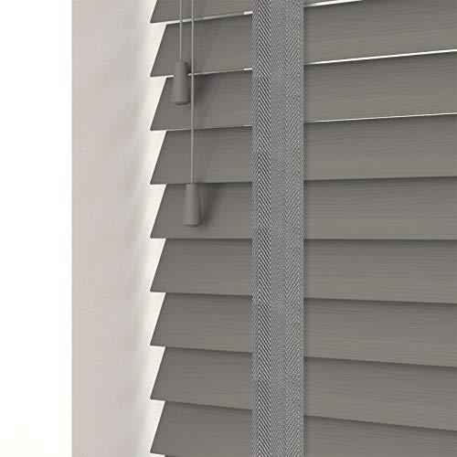 FAUX WOOD GRAIN VENETIAN BLINDS 50MM SLATS TRIMMABLE EASY FIT OFFICE HOME [Dark Grey, 60cm Width x 120cm Drop, Tape]