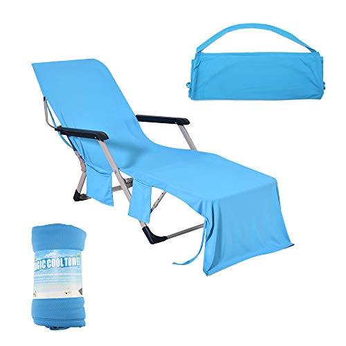 Konesky Lounger Mate Couverture Plage Serviette Piscine Froide Glace Serviette Plage Chaise Couverture Multifonctionnel Chaise Transat 210 * 75 cm pour Le Soleil extérieur-Bleu