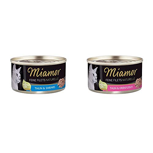Miamor Feine Filets naturelle Thun & Shrimps, 24er Pack (24 x 80 g) & Feine Filets naturelle Thun & Krebsfleisch, 24er Pack (24 x 80 g)