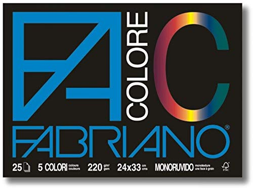Fabriano 113501 Album da Disegno Facolore 24X33 5 Colori 220 G/M2 Monoruvido (25, Carta, Multicolore, 24x33x0.7 cm