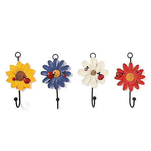 OH Coat Hooks Set of 4 Sun Flower Shape Wall Mounted Hat Rack Rustic Craft Decorative Wall Hooks Creative Entryway Hooks for Hat Towel Bag Bedroom Door Retro/Multi/Colored/One
