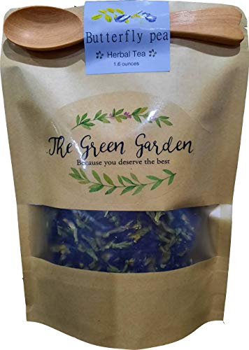 100% Dried Pure Butterfly Pea Flowers 1.60 Oz. (50 g.) Herbals Blue Tea, All Natural Ingredients, Nontoxic, GMO-Free, Safe and Healthy in Zipper Packaging and Get Free a Wooden Spoon by FBA