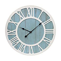 IPOUF Large Wall Clock Farmhouse Decorative Battery Operated Silent Decor Big Wall Clocks for Home Living Room ,Coastal Blue 36-inch