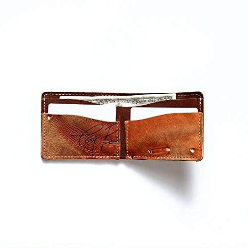 Holtz Leather Company, Personalized Mens Leather Bifold Wallet from Vintage Baseball Gloves, Behemoth Of Bust