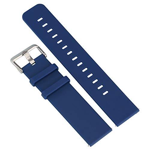 Correa de reloj de repuesto de 20 mm, color azul, correa de reloj de silicona de alta calidad, hebilla grande, resistente al agua