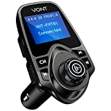 Bluetooth FM Transmitter for Car, Bluetooth Car Adapter Kit, 1.44-inch Display, Supports SD TF Cards, with AUX input, All Smartphones iPods, FM Transmitter Bluetooth
