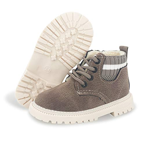 BENHERO Kids Boys Girls Boots Rain Winter Snow Ankle Booties | Classic and Waterproof | Hiking Outdoor Martin Boots (Toddler/Little Kid)(10.5 Toddler,H/Grey with Fur)