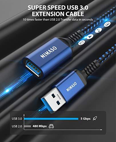 NIMASO Cable Alargador USB 3.0 [1M+2M] Cable USB 3.0 Macho A Hembra Super Rápida 5 Gbps para Mouse,Teclado,Pendrive… 3