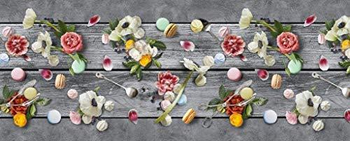 Tappeto Cucina Antiscivolo Lavabile in Vinile | Made in Italy | Passatoia Antimacchia in PVC Interni e Esterni Stampa Fiori e Macarons su Legno | Tappeti Runner Lungo in Gomma (52 X 150 cm)