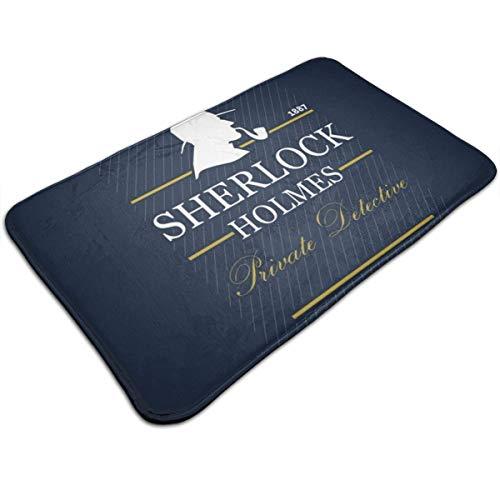 HUTTGIGH Sherlock Holmes Private Detective 1887 - Felpudo antideslizante para puerta de entrada, alfombra de baño, alfombra de cocina, alfombra de 48 x 81 cm, absorbente