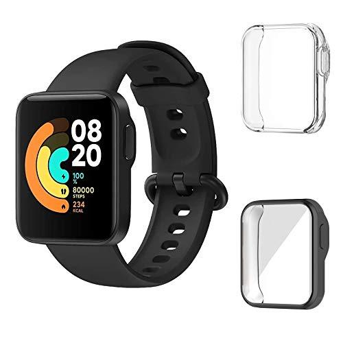 Aerku Funda Compatible con Xiaomi Mi Watch Lite, Carcasa Total Protección de Pantalla TPU Resistente Rasguños Protectora Suave Cubierta TPU Silicona Carcasa - Negro&Transparente