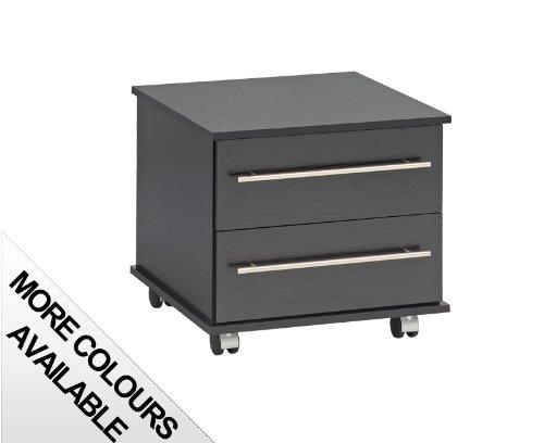 Ideal Furniture Comodino con 2cassetti, Legno, Nero