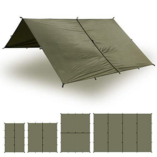Aqua Quest Safari Tarp - 100% wasserdichtes leichtes SilNylon Bushcraft Camping Obdach - 3x2, 3x3, 4x3, 6x4 m - Olivgrün, Camo/Tarnung oder mit Zubehör Kit (Olivgrün, 6 x 4 m)