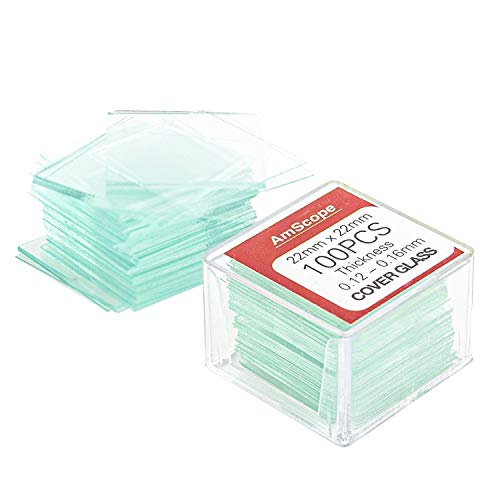 AmScope - Square Glass Microscope Cover Slips, 22mm x 22mm Cover Slides - Pack of 100