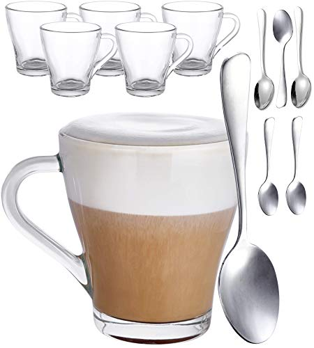 Lot de 6 Tasses à Cappuccino en Verre - 250ml - Avec Poignée - Avec 6 Cuillères - Conservent le Cafe Chaud