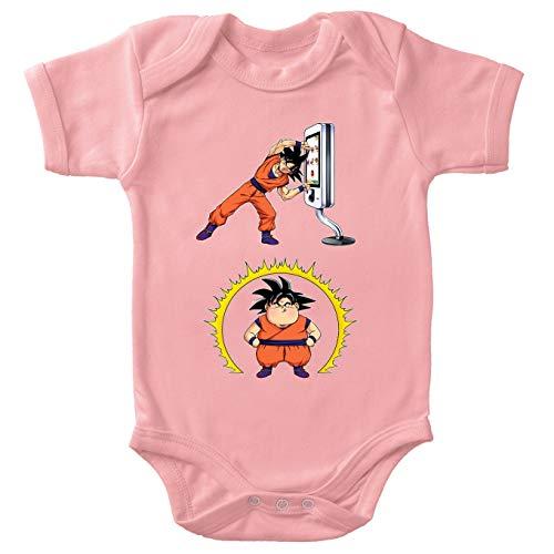 Okiwoki Body bébé Manches Courtes Filles Rose Parodie Dragon Ball Z - DBZ - Sangoku - Mac Fusion !!(Body bébé de qualité supérieure de Taille 3 Mois - imprimé en France)