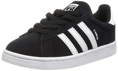 adidas Originals Boys' Campus El Sneaker, Black/White/White, 9 Medium US Toddler