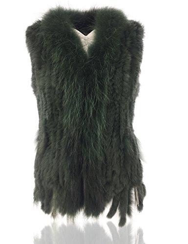 Uilor® Mujeres 100% Natural chaleco de piel de conejo de punto con cuello de pie
