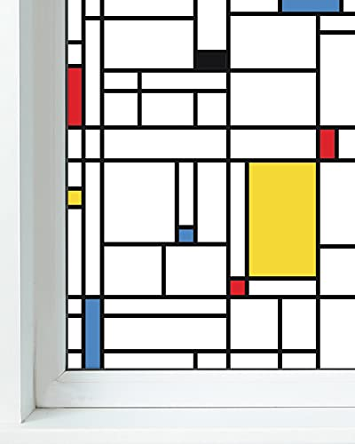 Panorama Vinilo para Ventanas Mondrian 73x200 cm - Vinilos para Ventanas Adhesivo - Vinilo Opaco para Cristal - Pegatina Privacidad - Vinilo para Ducha - Vinilo Translúcido para Cristales