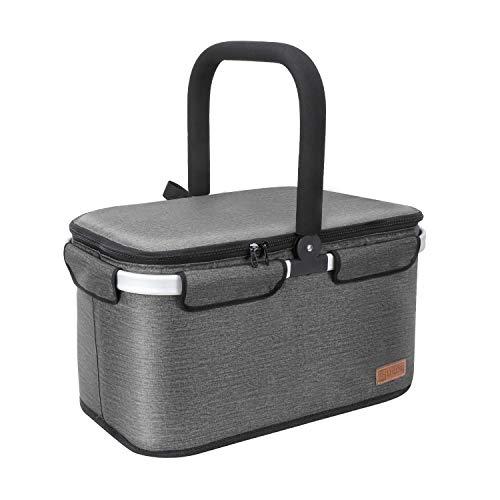 Liqing 40L Kühltasche Picknicktasche Einkaufskorb Große isolierte Kühlkorb Lunchtasche Thermo Tasche für Büro Camping Picknick Reisen (Grau)