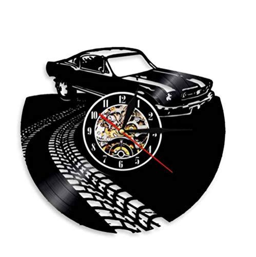 Fsswsh Classic Retro Nostalgic Car Wall Art Wall Clock Sports Car Auto Racing Vinyl Record Wall Clock Car Couple Gift