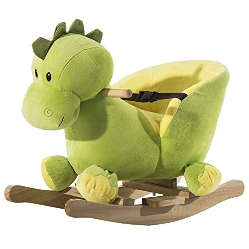 homcom Cavallo a Dondolo in Legno Drago per i Bambini 60 x 33 x 45cm Verde e Giallo