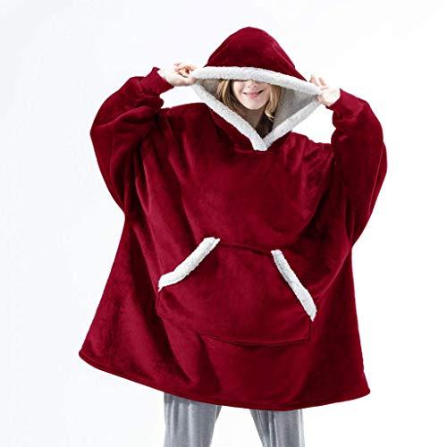 NXYJD Manta de Gran tamaño con Las Mangas Sudaderas con Capucha de Invierno Polar con Capucha de Las Mujeres de Gran tamaño de Bolsillo con Capucha Mujer Top (Color : A)